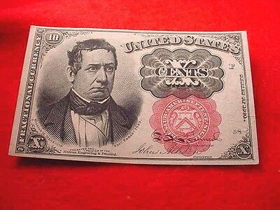 1874 10 Cents Fractional Currency Fifth Issue Nice Red Seal Note!!   #10