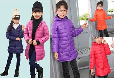 Winter Kids Boys Girls  Down Coat Hooded Snowsuit Warm Lightweight Puffer Jacket