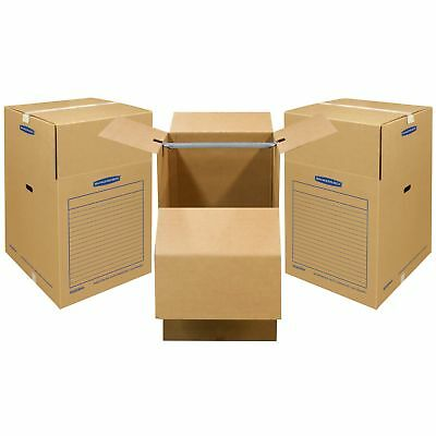 """Bankers Box SmoothMove Wardrobe and Moving Boxes, 20"""" x 20"""" x 34"""", 3 Pack (7710"""