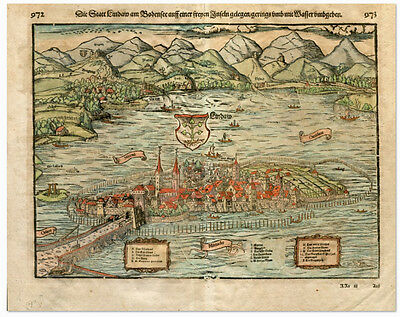 Antique Print-LINDAU-BODENSEE-GERMANY-BAVARIA-Munster-1580