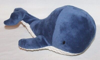 "NAUTICA Kids Navy Blue Plush Whale Pillow Bedding VELOUR SOFT 14"" Cute Stuffed"
