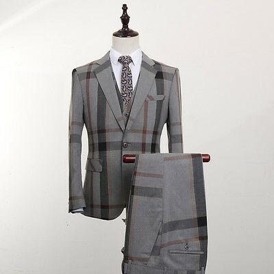 Tweed Grey Plaid Men Suits Slim Fit Notch Lapel Tuxedos 3 Piece Wedding Suits