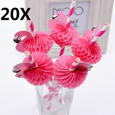 20x Flamingo Cocktail Drinking Paper Straws Hawaiian Tropical Luau Fun Hen Party