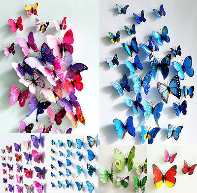 24 Pcs(2 Sets) 3D Butterfly Wall Stickers & Magnetic Decals Home Room Decor AU