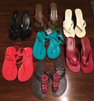 Women's Shoes Lot Of 7! Sandals Heels Jellies GENTLY USED! GAP C Russe Sz 8/8.5