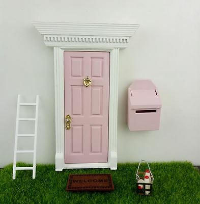 Pink Opening Fairy Door With Knocker,  Handle, Fairy Dust, Ladder, Fairy Window