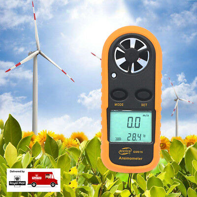New LCD Digital Air Wind Speed Gauge Meter Anemometer & Thermometer + Battery