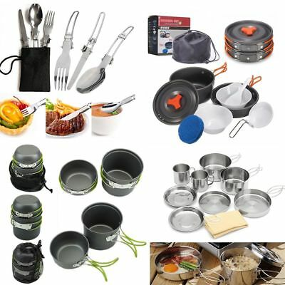 Camp Hiking Cookware Picnic Cooking Bowl Fork Cutlery Pot Pan Bottle Opener Set