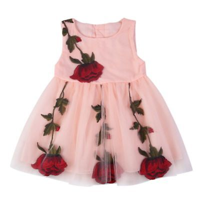 Baby Kids Girl Princess Rose Embroidery Party Tutu Summer Floral Dress 1-4T