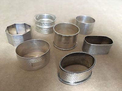Collection Of Antique Solid Sterling Silver Napkin Serviette Rings 165g Job Lot
