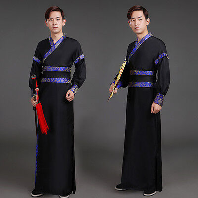 Mens Wear Ancient Hanfu Clothing Cool Costume Swordsman Stage Cosplay Dress Size