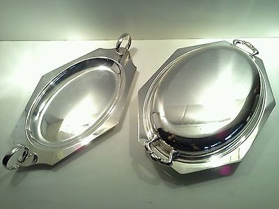 2 x Vintage Silver Plated Serving Dishes, 1 with Lid