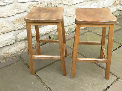 Pair of Vintage Lab Stool. Beech + Elm. Original condition.