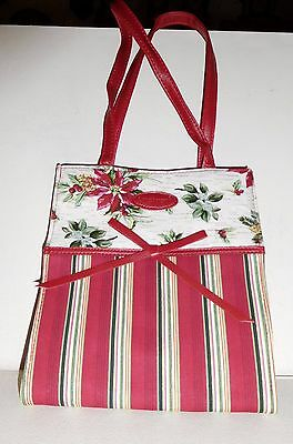 Longaberger Holiday Striped Lunch Tote/gift Bag - 2006