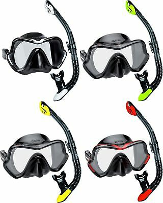 Mares Deluxe Snorkel Set - Silicone Single Lens Mask and Dry Snorkel + Mask Box