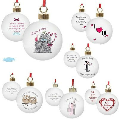 PERSONALISED Couples Wedding Anniversary Engagement Christmas Bauble Decoration