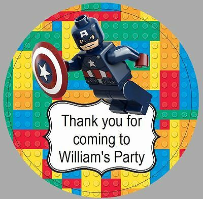 24 x 40mm personalised stickers round lego captain america party thank you