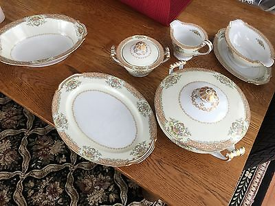 Rose China 12 place setting plus numerous serving pieces