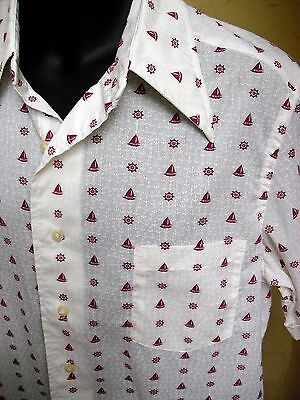 VINTAGE 70s COTTON BLEND SHORT SLEEVE SAIL BOAT PRINT SHIRT LG EXC!