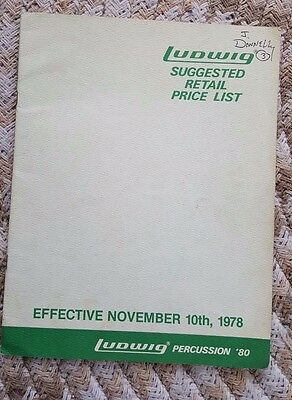 Ludwig Drums Percussion 1980 SUGGESTED PRICE LIST retail / Dealer  Catalog