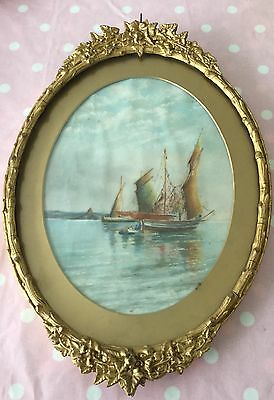 Antique Painting Watercolour Ship Old Gilt Frame Fishing Boat?