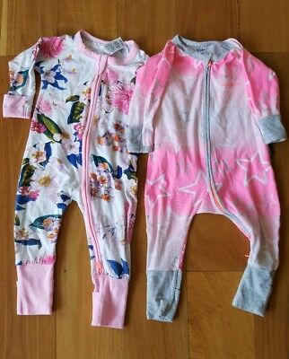 2 x bonds girls baby wondersuit size 00 stars and floral