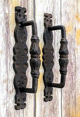 door pull, barn door handle, cast iron antique style rustic shed gate pull 9.75""