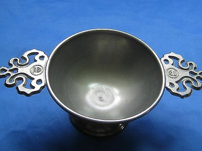 "Dia  4"" Antique German Solid Embossed & Engraved Pewter Bowl 2 Handles Nice"