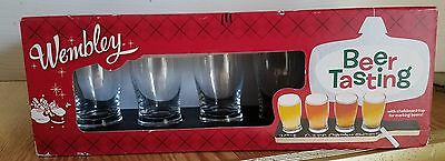 WEMBLEY NEW Black Chalkboard Serving Board 5oz. Beer Tasting Set holiday edtin