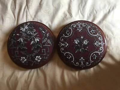 "Matched Pair Antique Beaded 10 1/2"" Victorian Footstools"