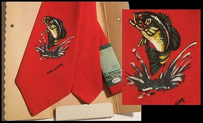DEADSTOCK NEW VTG 1940s WIDE HAND PAINTED RAYON NECK TIE ~ BASS / FISHING