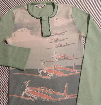 VTG 1960s 70s PLANES AIRPLANES COTTON RIB KNIT LONG SLEEVE HENLEY SHIRT S to XS