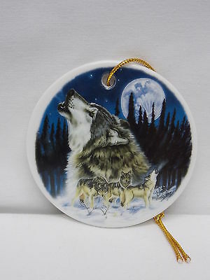 Wolf Howling at Moon 3 In Round Porcelain Christmas Tree Ornament Fired  Decal