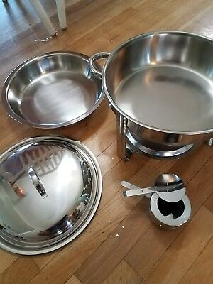 New Round Chafing Dish 5 Quart Stainless Steel Full Size Tray Buffet Catering