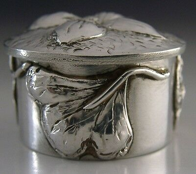 Superb Modernist Arts & Crafts Sterling Silver Box Hand Made London 1978 Ginko