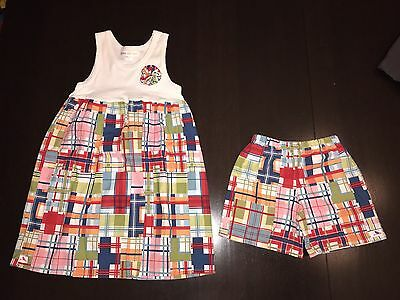 Matching Brother Shorts (18 Months) Sister Dress (4t) Red White Blue Plaid