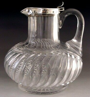 Stunning Victorian English Sterling Silver Mounted Claret Jug 1893 Antique