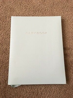 "Baby Memory Book by C.R. Gibson ""Blue Leather"" Collection NIB Bonded Leather"