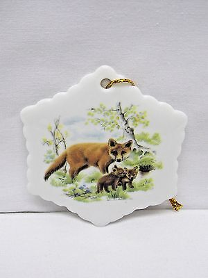 Red Fox Family 3 In Snowflake Christmas Tree Ornament Porcelain Fired Decal-W