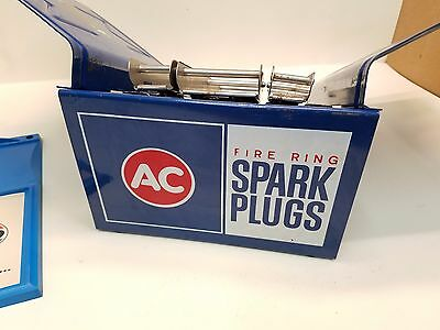 "Vintage ""AC Spark Plugs"" Catalog Rack Hinged 8"" Wide w/1""-2"" Clips & Amoco Card"