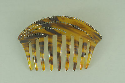 """Vintage 5"""" x 3"""" Faux Tortoise Hair Comb with Rhinestones"""
