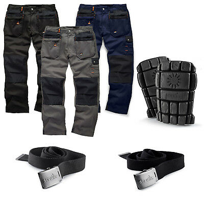 Scruffs WORKER PLUS Work Trousers, Knee Pads, Clip Belts Men's Trade Hardwearing