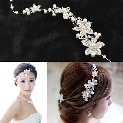 Silver Crystal Pearls Flower Wedding Bridal Hair Pin Hairpin Clip Headband Comb