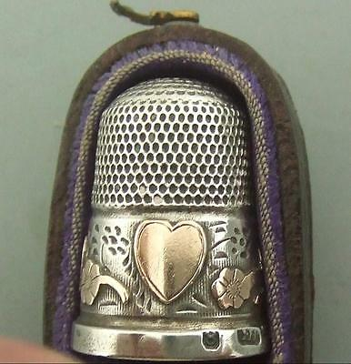 Antique Edwardian Silver & Gold Thimble Charles Horner
