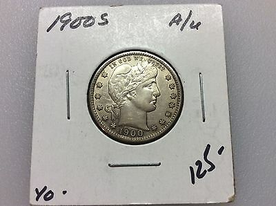 1900-S  AU  Barber Quarter    Sharp Liberty and Band    Better Date