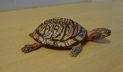 "Hand Painted Colorful TURTLE FIGURINE Red/Orange/Yellow Folk Art - 2.75"" Long"