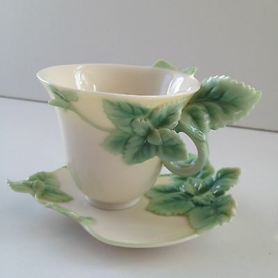 Franz porcelain mint herb cup and saucer FZ00163 excellent condition beautiful!