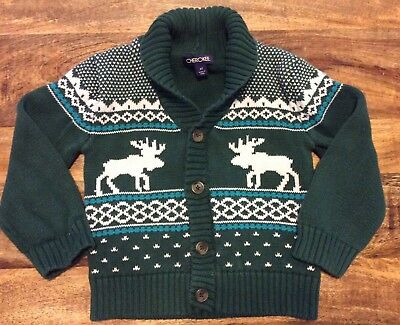 Toddler Boys Size 4T Cherokee Green Holiday Winter Reindeer Sweater