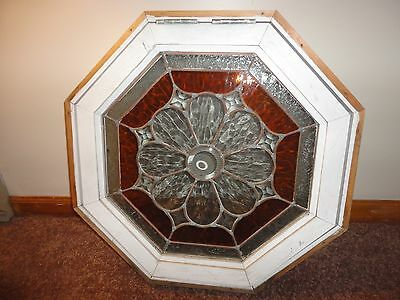 "Porthole Window Leaded beveled stain glass octagon 24"" by 24"""