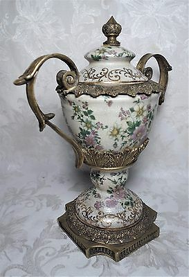 Antique Hand Painted Porcelain Lidded Urn Vase Floral Decoration Gold Paint 13""